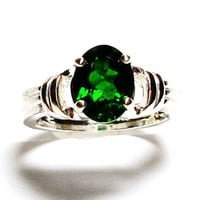 "Chrome diopside ring, chrome diopside, solitaire ring, engagement ring, green ring, green, s 6 1/2  ""Green means Go"""
