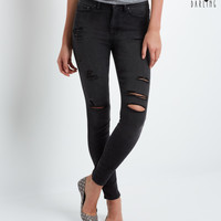 Aeropostale  Tokyo Darling High-Waisted Destroyed Black Wash Jegging