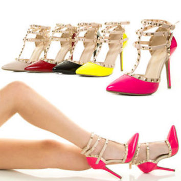 Sexy Gold Stud Ankle T Strap Strappy Mary Jane Gladiator High Heel Women Pump US