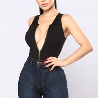 Zip Me Up Bodysuit - Black