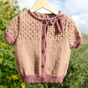 Hand knitted Pink Cardigan for Girls - 4 years old - Handmade