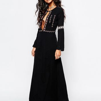 Glamorous Tall Panel Embroidered Folk Maxi Dress at asos.com