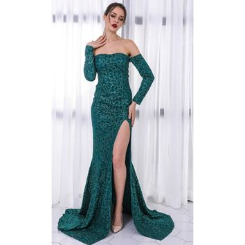 Emerald Off Shoulder Sequin Cocktail Dress