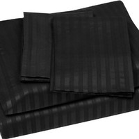 Venetian Luxury Damask Bed Sheet set Bed Sheet set - Twin, Black