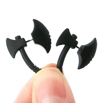 Fake Gauge Earrings: Realistic Axe Shaped Faux Plug Stud Earrings in Black
