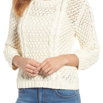Velvet by Graham & Spencer Popcorn Cable Sweater | Nordstrom
