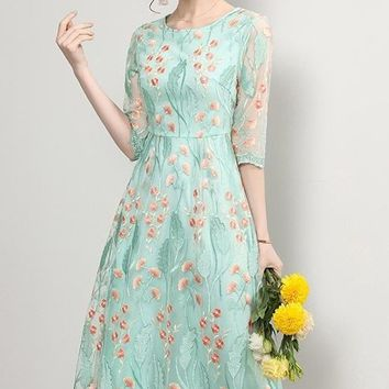 Floral Embroidered Dress W/ Lace Hem