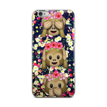 Monkey Flower Crown Emoji's In Floral Garden With Daisy's Pink & Dark Blue iPhone 4 4s 5 5s 5C 6 6s 6 Plus 6s Plus 7 & 7 Plus Case