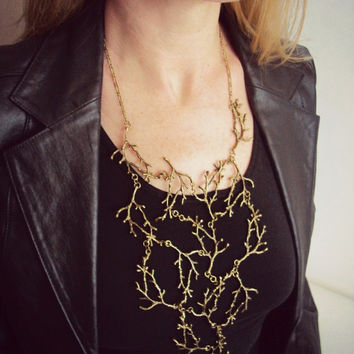 Statement Twig Necklace,Dark Bronze Branch Necklace, Cascading Twig Necklace, Nature Jewelry, Woodland, Forest Jewelry, Tree Bib Necklace