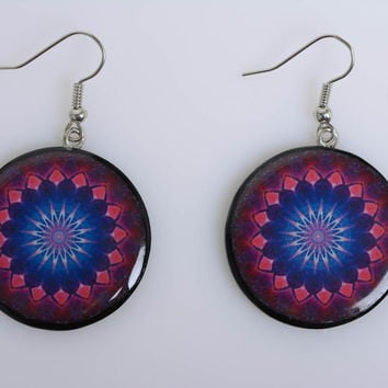 Black polymer clay handmade earrings with Indian ornaments decoupage technique