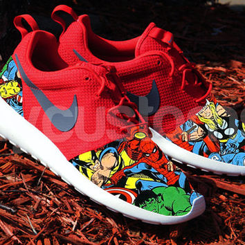 Nike Roshe Run Sport Red Comic Superhero from NYCustoms on Etsy 871904c22b