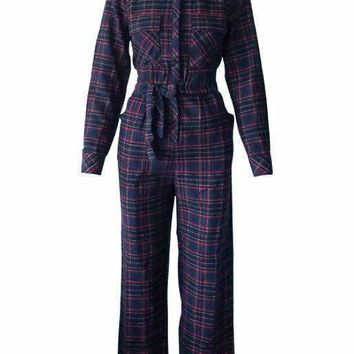 Williamsburg Lumberjack Plaid Jumpsuit in Blue