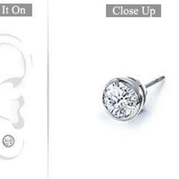 Mens 18K White Gold : Bezel-Set Round Diamond Stud Earrings - 0.25 CT. TW.