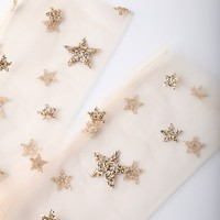 Stars in Her Eyes Gold Glitter Star Print Tulle Socks
