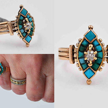 Antique Victorian 14K Yellow Gold, Diamond & Turquoise Cluster Ring, Green, Blue, Marquise, Size 6, Triple Shank, Exquisite! #c337