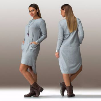 Beautiful Long Sleeve Loose Casual Plus Size Dress