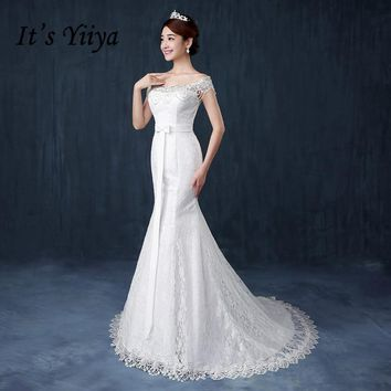 It's Yiiya 2017 New Lace Boat Neck Wedding Dresses Mermaid Train White Bridal Frocks Custom Made Vestidos De Novia MD72