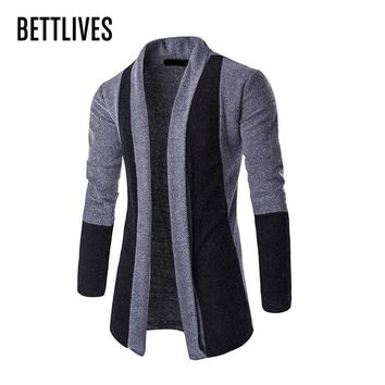 Mens Patchwork Fashion Men Sweater Cardigan Masculino Slim Fit Casual Long Sleeve Cardigan Outerwear With Shawl Collar ZE0349