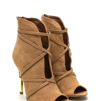 Wrap Battle Strappy Faux Suede Booties