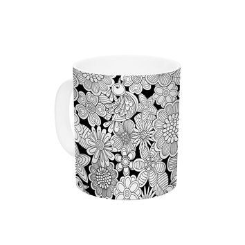 "Julia Grifol ""Welcome White Birds"" Black Floral Ceramic Coffee Mug"