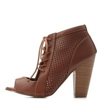 Tan Perforated Peep Toe Lace-Up Heels by Charlotte Russe