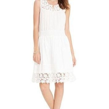 Women's Lauren Ralph Lauren Lace Detail Cotton Smocked Waist Dress