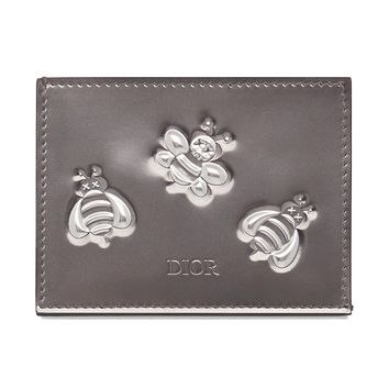 Leather Silver-Tone Calfskin KAWS Wallet by Dior