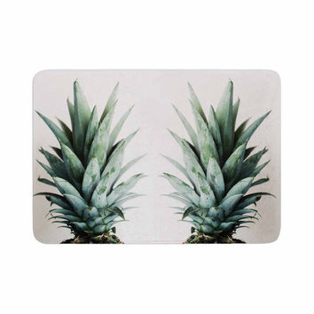 "Chelsea Victoria ""Two Pineapples"" Green Gold Memory Foam Bath Mat"