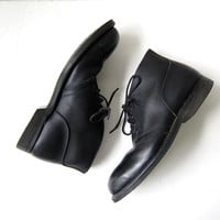 Vintage Leather CHUKKA Boots. Black Work Boots. Mens Ankle Boots