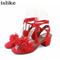 Tassel Sandals  Block High Heels Gladiator Sandals Red Ladies Summer Shoes Woman Party Shoes Sandalias Zapatos Mujer