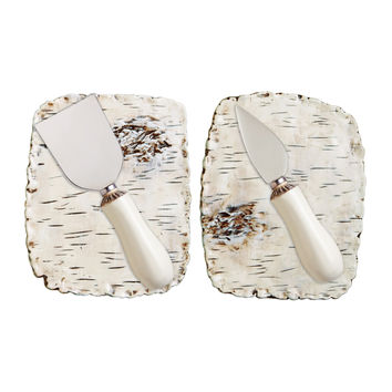 Set of 2 Birch Cheese Plates + Knives