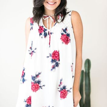 Raise Your Glass Floral IvoryDress