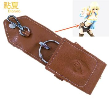 DIANXIA 2017 Anime Fairy Tail Natsu Lucy Key Bag Collection PU 1pcs 13*6cm Toys Gift For Friend Kids