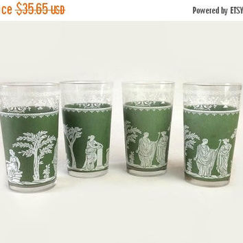 ON SALE - Jeannette Glass Tumblers, Vintage Green Hellenic Water Glasses, Wedgwood Jasper Grecian Scenes, Set of 4