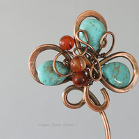 Copper Hair Stick with Turquoise Howlite Beads and Red Carnelian Stones, Flower Shape, Boho, Natural, Wire Wrapped, Hair Pin, Long, Blue