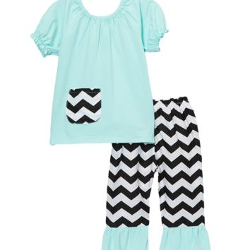 Teal & Black Chevron Capri & Top Set