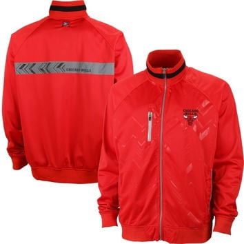 Chicago Bulls Mens Lawrence Poly Tricot Full Zip Jacket – Red
