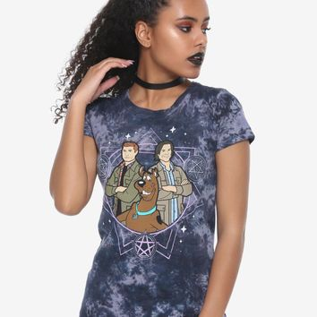 Licensed cool ScoobyNatural Washed FITTED Tee Shirt Top Scooby Doo Sam & Dean Supernatural