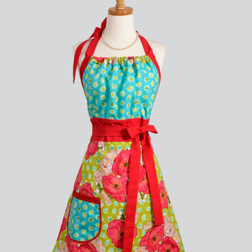 Cute Kitsch Apron / Retro Colors of Red Poppy on by CreativeChics
