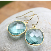 CLEARANCE SALE Gold Light Teal Quartz Earrings - 14K Gold Fill - Cushion Cut, Dangle Earrings
