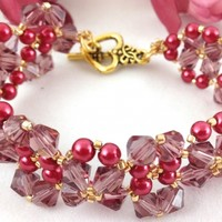 Bracelet Beaded Bangle Woven Cranberry Swarovski Gold Glass Pearl Lacy