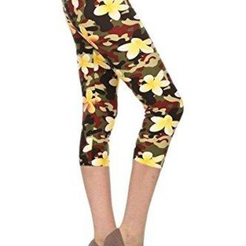 Leggings Depot Capri REGPlus Womens Buttery Popular Prints BAT2
