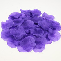 JUYO VONSAN 1000pc Silk Rose Petals Wedding Flowers Favors for you special wedding (Deep Purple)