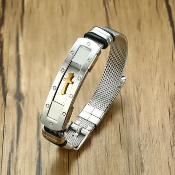 Cross Cuff Bangle Bracelet Stainless Steel ID Bracelet for Male Boy Ceremony