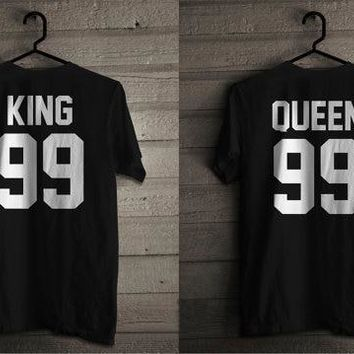 Cool King and Queen 99 T Shirts for Couples Cotton King Queen Tees  Matching Set T-shirts Unisex Tees Women Men clothes Tops tshirtsAT_93_12