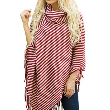 Mode Red White Stripes Tassel Cowl Neck Poncho Sweater
