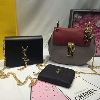 year end promotion 3 pcs of bags combination chloe bag ysl mid bag ysl wallet colorful
