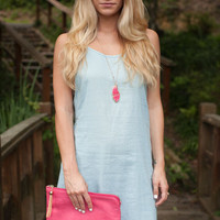 Down to the Linen Light Blue Sleeveless Dress - Lotus Boutique