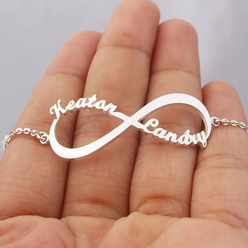 Infinity Name Bracelet - Gold Bracelet - Birthday Gifts - Sterling Silver / 18K Gold Plated / White Gold Plated