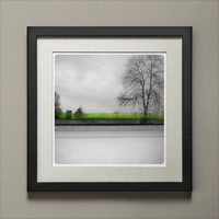 Route barrée (Landscape Photography - Fine Art Print - Truck on a road - Winter Tree - WaterColor paints - Mirror - Black and white - Green)